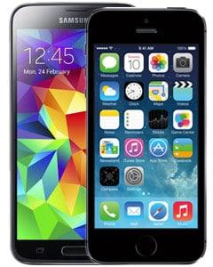 Galaxy S5 en de iPhone 5S toestel