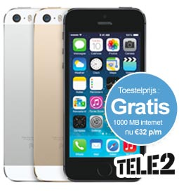 iPhone 5s gratis 1gb internet tele2 aanbieding
