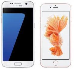 Samsung Galaxy S7 en iPhone 6S naast elkaar