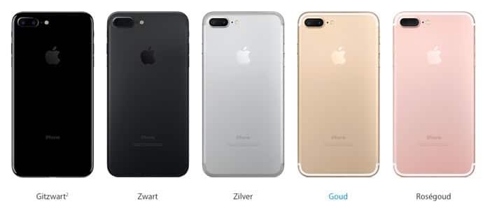 De kleuren van de iPhone 7 Plus