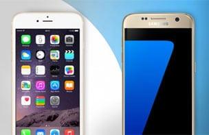 Vergelijk de iPhone 7 met de Galaxy S7.